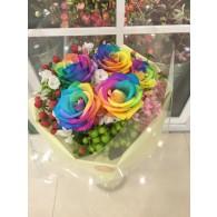 彩虹玫瑰花束