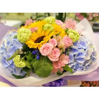 5向日葵雙繡球花束