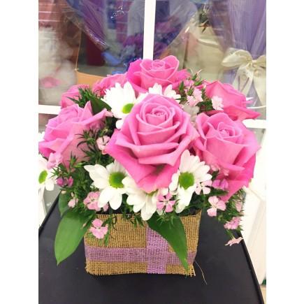 粉色玫瑰枱花