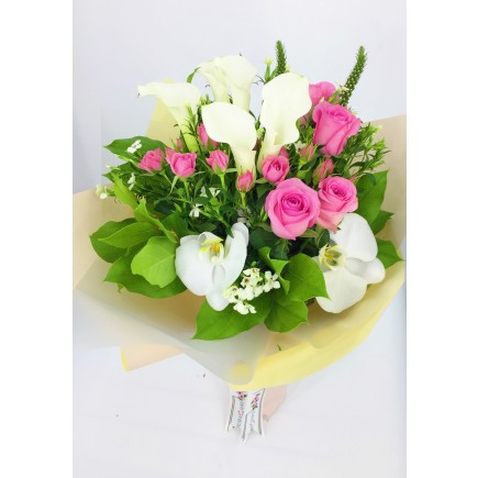 Calla, Roses and Orchids Bouquet